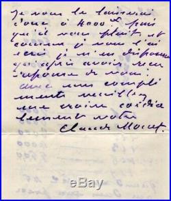 Claude Monet IMPRESSIONIST autograph, handwritten letter signed
