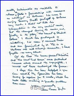 DAME JEAN CONAN DOYLE (1912-1997) RARE Handwritten Letter SHERLOCK HOLMES films