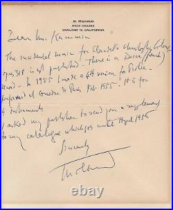 Darius Milhaud Handwritten Letter Signed in 1955 with COA