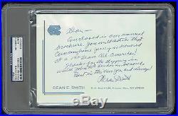 Dean Smith signed autograph auto Handwritten Letter UNC Letterhead PSA Slabbed