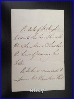 Duke Of Wellington Battle Of Waterloo Victor & Pm 2 Page Hand Written Letter