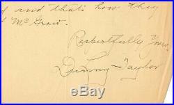 Dummy Taylor Handwritten Letter New York Giants Autograph 1905 World Series Cont
