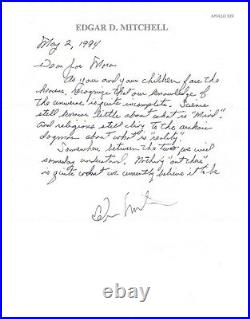EDGAR MITCHELL handwritten letter with space-content and PSA/DNA authentication