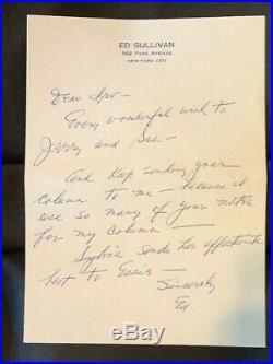 ED SULLIVAN HANDWRITTEN SIGNED LETTER To COLUMNIST IRV KUPCINET