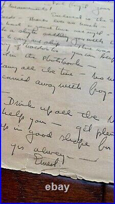 ERNEST HEMINGWAY BAS Handwritten Autograph LETTER Green Hills of Africa