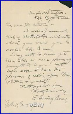 Eanger E Irving Couse SIGNED AUTOGRAPHED Handwritten Letter circa 1902