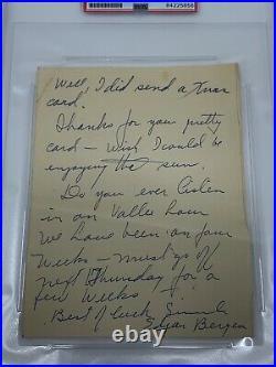 Edgar Bergen Actor Comedian Signed Autograph Handwritten Letter PSA DNA j2f1c