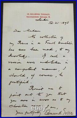 Edmund Gosse Signed Hand Written Letter On Personal Stationery Feb. 21, 1895