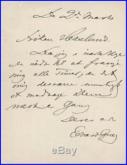 Edvard Grieg Handwritten Letter Signed with COA