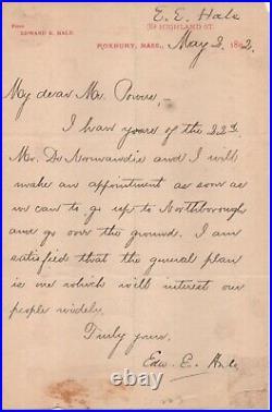 Edward Everett Hale - author and reformer. Handwritten signed letter