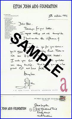 Elton John Autographed Letter Handwritten Autograph
