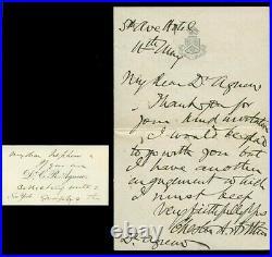 Exquisite, President Chester A. Arthur Rare Handwritten & Signed Letter, No Date
