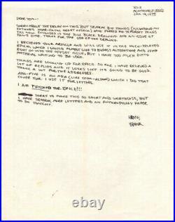 FRANK MILLER 1973 Handwritten Signed EARLY LETTER
