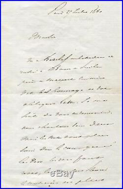 FRENCH POET Alphonse de Lamartine autograph, handwritten letter signed