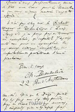 FRENCH POET Charles Baudelaire autograph, handwritten letter signed