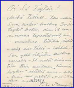 F. E. Sillanpaa NOBEL LITERATURE Hand Written Letter (1954) Sillanpää Finland