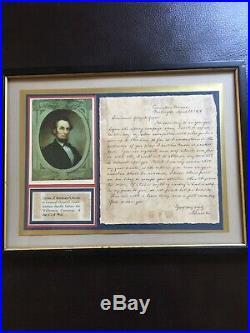 Frame ABRAHAM LINCOLN HANDWRITTEN LETTER SIGNED 1864