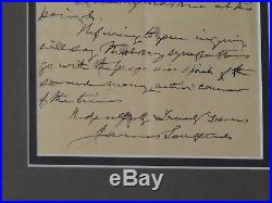 Framed Hand Written Letter By Confederate States General James Longstreet 1896
