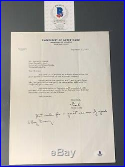 Frank Leahy Autographed Letter Notre Dame 1947 To Penn FB Coach Handwritten Msg