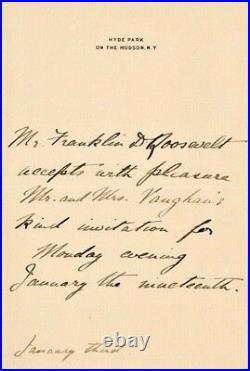 Franklin D Roosevelt Pristine Handwritten Letter & Signed, Personal Stationery