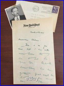Franklin Pierce Adams Handwritten Letter Signed Journalist Algonquin Round Table