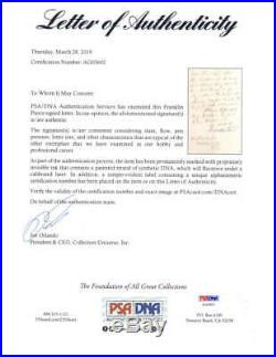Franklin Pierce Signed Autographed Hand Written Letter As President PSA/DNA
