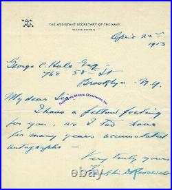 Franklin Roosevelt handwritten signed letter mentioning he collects autographs