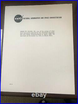Fred W Haise NASA Astronaut Signed 8x10 Photograph & 1973 Handwritten Letter