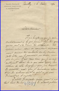 Frederic Passy NOBEL PRIZE autograph, handwritten letter signed