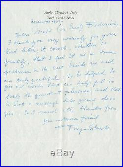 Freya Stark SIGNED Autographed Handwritten Manuscript MS Letter 1932