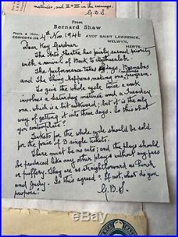 GEORGE BERNARD SHAW 4 X Hand Written Letters To Kay Gardner, Arts Theatre