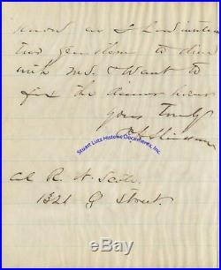 Genl Philip Sheridan handwritten letter re attending funeral of Gen Ben Alvord