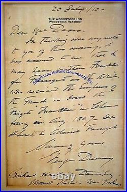 George Dewey handwritten letter re Admiral David Farragut Woodstock Inn Vermnt