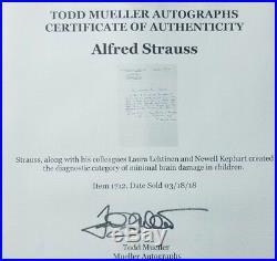 German Psychiatrist Alfred Strauss Hand Written Letter Todd Mueller COA