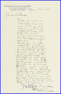 Gw Lillie Pawnee Bill Hand Written/signed Letter Oklahoma Buffalo Ranch 1928