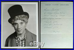 HARPO MARX BROTHERS Signed Autographed Hand Written Letter Personsal Stationary