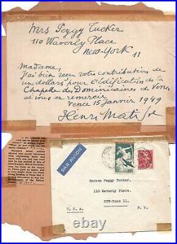 HENRI MATISSE Handwritten letter signed 1949 Thanks for contrib to Vence Chapel