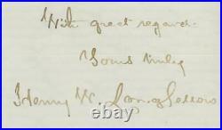 HENRY WADSWORTH LONGFELLOW (1807-1882) signed handwritten 1870 letter PSA/DNA