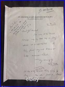 H. G. Wells. Autograph. Signed handwritten letter. AFTAL DEALER