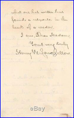 Handwritten Letter Signed by Henry Wadsworth Longfellow in 1880 with COA