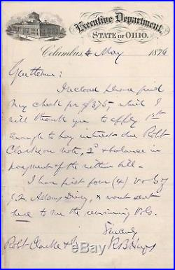 Handwritten Letter Signed by Rutherford B. Hayes in 1876 with COA