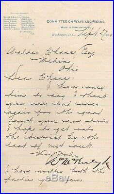 Handwritten Letter Signed by William McKinley in 1890 with COA