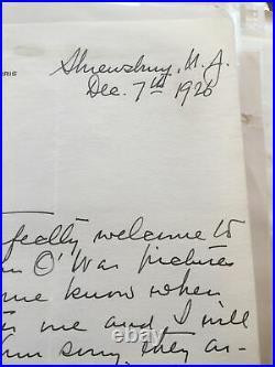 Handwritten letter-George Ford Morris- Artist Shrewsbury Nj 1926