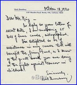 Hank Greenberg Signed Autograph Handwritten Letter Tigers HOF (d. 1986) RARE