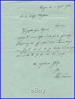 Hans Carossa (+) NOVELIST autograph, handwritten letter signed