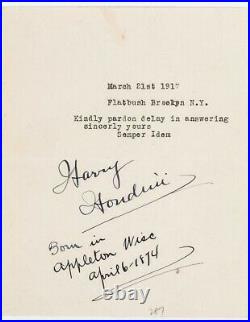 Harry Houdini Signed Handwritten and Typed Letter 1917