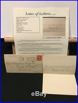 Helen Keller 1929 Hand Written & Signed Note Letter + Original Envelope JSA LOA