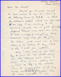 Henry Miller 1938 handwritten letter, signed, Villa Seurat, Paris, ALS