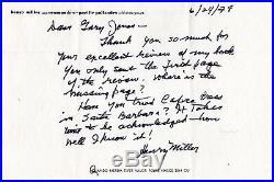 Henry Miller handwritten letter, 1978, signed, ALS