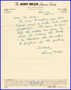 Henry Miller, handwritten letter signed 1958, on Literary Society letterhead, VG